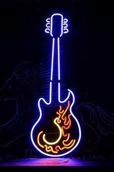 Neon Light Guitar Tanbanner Art Neon Fire Blue Guitar Light Sign N115 In