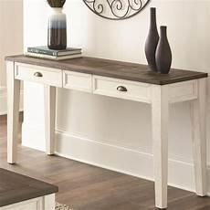 steve silver cayla farmhouse sofa table with two tone