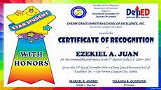 Certificate Of Recognition For Honor Students Certificate With Honors Png 1280 215 720 Certificate Of
