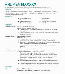 Receptionist Objective On Resume Front Desk Medical Receptionist Resume Sample Livecareer