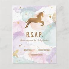 Birthday Invitation Postcards Pastel Unicorn Birthday Party Rsvp Invitation Postcard