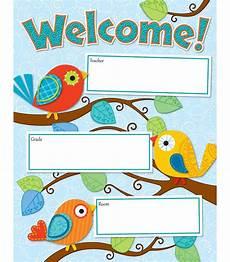 Welcome Chart For Classroom Boho Birds Welcome Chart Grade Pk 8 Carson Dellosa