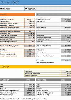 Rent Vs Lease Car Car Buy Vs Lease Calculator Excel Business Insights Group Ag
