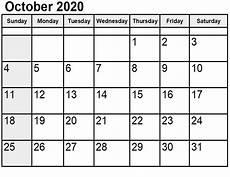 C Alendar Free Printable October 2020 Calendar Template