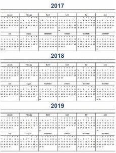 Multi Year Calendar Printable Calendar 2017 Home Life Weekly