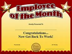 Funny Employee Award Certificates Employee Of The Month Certificate Free Funny Award Template