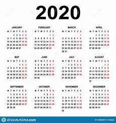 Basic Calendar 2020 Calendar 2020 Week Starts On Monday Basic Grid Stock