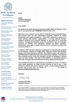 Letters Of Thank You Barth Syndrome Foundation Thank You Letter Before And