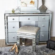 grey glass 7 drawer mirrored dressing table