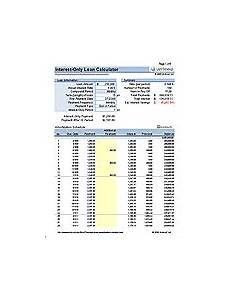 Interest Only Calculator Free Mortgage Calculators For Excel