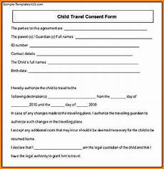 Child Travel Consent Form Samples 11 Child Travel Consent Form Card Authorization 2017