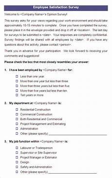 Employee Satisfaction Survey Example 9 Employee Satisfaction Survey Templates Amp Samples Doc