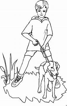 junge hund und leine ausmalbild malvorlage kinder
