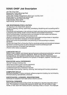 Executive Chef Job Description Sample Sous Chef Job Description