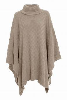knitwear wrap polo neck grid knitted poncho womens