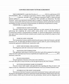 Joint Venture Contract Jv Agreement Contract Templates Contract Templates