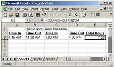 Excel Time Clock Calculator Ms Excel 2003 Perform Time Calculations Example 2
