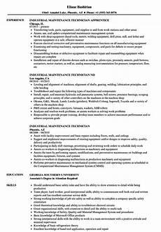 Maintenance Technician Resume Sample Industrial Maintenance Technician Resume Samples Velvet Jobs
