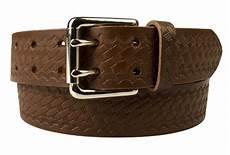 Belt Design American Style Brown Basketweave Embossed Leather Duty