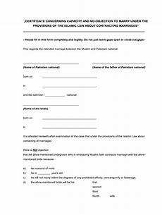 Affidavit For No Objection Certificate No Objection Certificate For Marriage Sample From Parents