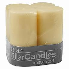 2 inch x 4 inch unscented pillar candles in ivory set of