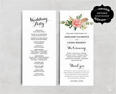 Wedding Program Designs Printable Wedding Program Template Floral Wedding Program