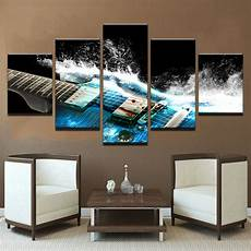 home decor wall 5 pieces abstract blue guitar canvas wall pictures