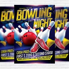 Bowling Flyer Bowling Night Premium Flyer Template Facebook Cover