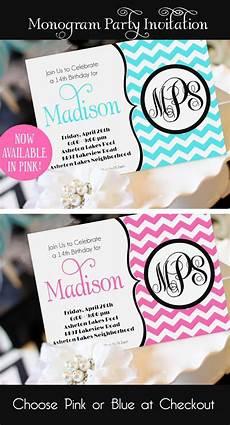Teenage Birthday Invitation Templates Girl Birthday Invitation Monogram Birthday Invitation