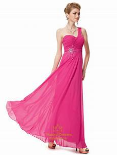 pink chiffon one shoulder bridesmaid dress with