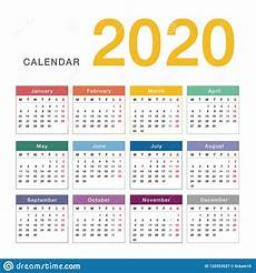 2020 Printable Year Calendar Colorful Calendar Year 2020 Vector Design Template Simple