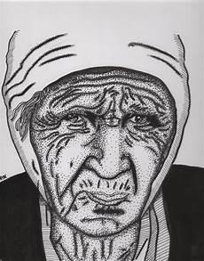 kranium tatovering drawing is done in inc russian babushka pointillism