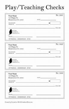 Pretend Cheque Printable Checks For Play Or Teaching Check Writing Skills