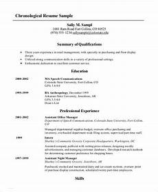 Chronological Resume Template Free 10 Chronological Resume Templates Pdf Doc Free