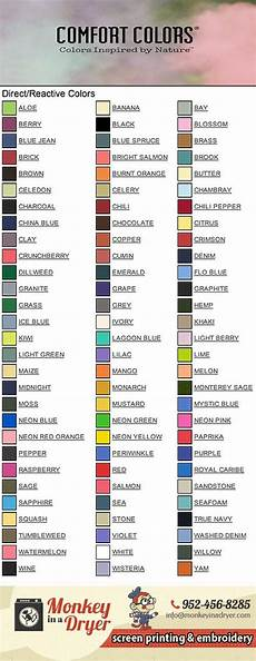 Comfort Colors Long Sleeve Color Chart Comfort Colors Swatch Color Chart Monkey In A Dryer