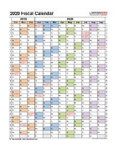 2020 Fiscal Year Calendar Fiscal Calendars 2020 Free Printable Word Templates