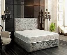 new crushed velvet divan bed memory mattress headboard