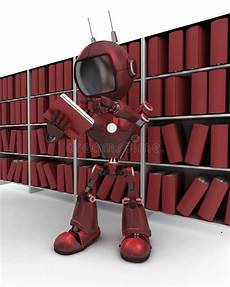 scaffale per libri robot allo scaffale per libri illustrazione di stock