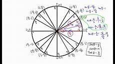Unit Circle With Tangents Sin Cos And Tan For Standard Unit Circle Angles Youtube