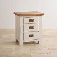 kemble 3 drawer painted bedside table in rustic solid oak