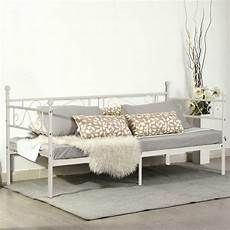 white 3ft single day bed scrub metal guest bed frame sofa