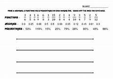fractions decimals percentages number lines worksheet