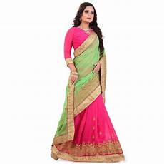 Light Green With Pink Saree Buy Light Green And Pink Embroidered Georgette Saree With