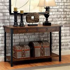 Rustic Wood Sofa Table 3d Image seth rustic 2 drawer wood sofa table with black metal accents