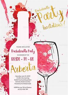 Party Invitation Card Template Watercolor Bachelorette Party Invitation Card Design