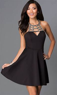 black dress cut out neckline promgirl