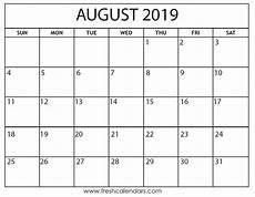 Calendar August August 2019 Calendar Printable