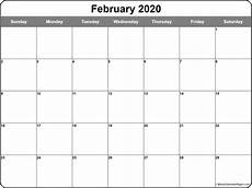 Free Calendar Template February 2020 Free February 2020 Calendar Printable Leap Year Blank
