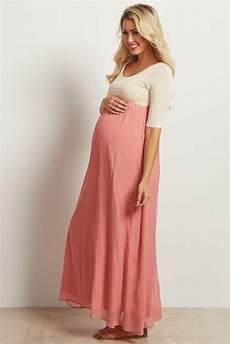 Pink Blush Maternity Size Chart Blush Pink Chiffon Colorblock Maternity Maxi Dress