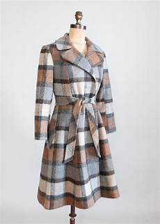 plaid winter coats for 1930s vintage 1970s grey and brown plaid princess winter coat